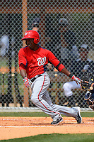 Washington Nationals outfielder Eury Perez #16 during a minor league Spring Training game against the Detroit Tigers at Tiger Town on March 22, 2013 in Lakeland, Florida.  (Mike Janes/Four Seam Images)