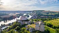 France, Eure (27), Les Andelys, Château-Gaillard et la Seine (vue aérienne) // France, Eure, Les Andelys, Chateau-Gaillard and the Seine (aerial view)