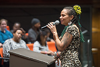 Occidental College students listen to MLK Week speaker Jessica Care Moore, an internationally renowned poet, activist, producer and publisher, Jan. 21, 2015 in Choi Auditorium. (Photo by Marc Campos, Occidental College Photographer)