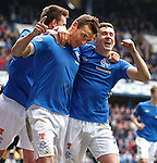 Lee McCulloch celebrates his goal with Fraser Aird.