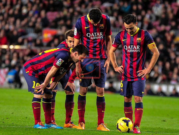 League BBVA 2013/2014 - Game: 21.<br /> FC Barcelona vs Malaga CF: 3-0.<br /> Messi, Busquets &amp; Xavi.