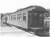 Observation end of RGS business car #B-20 &quot;Edna&quot; plus a coach at a station platform.<br /> RGS