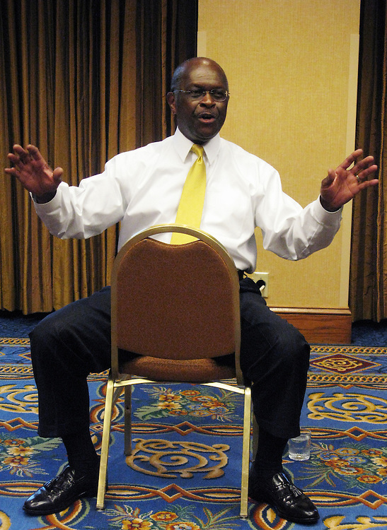 UNITED STATES - JUNE 18:  Herman Cain, republican presidential candidate, conducts a news conference at the RightOnline Conference in Minneapolis, MN.  (Photo By Christina Bellantoni/Roll Call)
