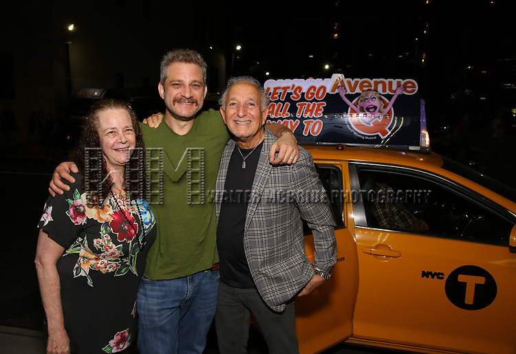 Jeff Marx with parents taking the 'Avenue Q' - 15th Anniversary Performance Taxi Cab at New World Stages on July 31, 2018 in New York City.