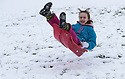 21/01/18<br /> <br /> Freya Kirkpatrick (10) takes-off on her sledge after heavy snowfall near Dovedale in the Derbyshire Peak District..<br /> <br /> All Rights Reserved: F Stop Press Ltd. +44(0)1773 550665  www.fstoppress.com.