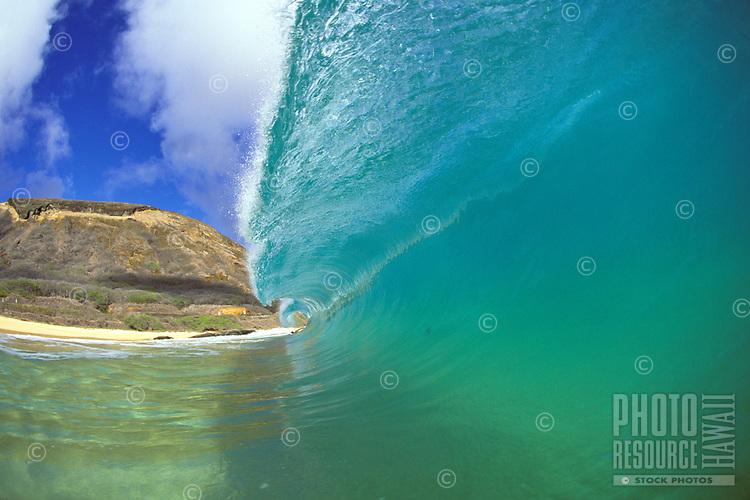 Big wave about to crash, Sandy beach, Oahu.