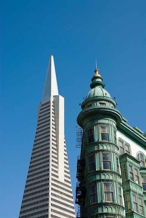California: San Francisco, North Beach. Historic Zoetrope Building with Transamerica Pyramid in backgrond. Photo #: san-francisco-north-beach-18-casanf79304. Photo copyright Lee Foster.