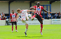 Lincoln City's John Akinde vies for possession with Lincoln United's Michael Jacklin<br /> <br /> Photographer Chris Vaughan/CameraSport<br /> <br /> Football Pre-Season Friendly (Community Festival of Lincolnshire) - Lincoln City v Lincoln United - Saturday 6th July 2019 - The Martin & Co Arena - Gainsborough<br /> <br /> World Copyright © 2018 CameraSport. All rights reserved. 43 Linden Ave. Countesthorpe. Leicester. England. LE8 5PG - Tel: +44 (0) 116 277 4147 - admin@camerasport.com - www.camerasport.com