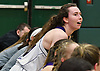 Gillian Kenah #24 of Port Jefferson reacts as the final seconds tick down on her team's 43-30 win over Haldane in the NYSPHSAA varsity girls basketball Class C Southeast Regional Final at SUNY Old Westbury on Thursday, March 9, 2017.