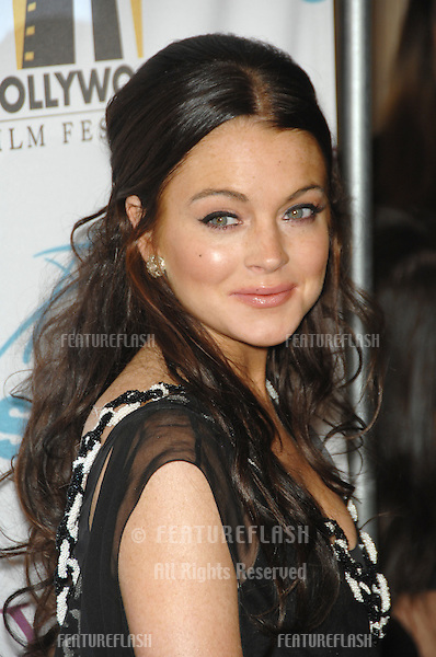LINDSAY LOHAN at the 10th Annual Hollywood Awards Gala - the closing gala of the 2006 Hollywood Film Festival - at the Beverly Hills Hilton..October 23, 2006  Los Angeles, CA.Picture: Paul Smith / Featureflash