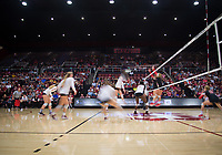 STANFORD, CA - November 4, 2018: Meghan McClure, Jenna Gray, Sidney Wilson, Kathryn Plummer, Tami Alade at Maples Pavilion. No. 2 Stanford Cardinal defeated the Utah Utes 3-0.
