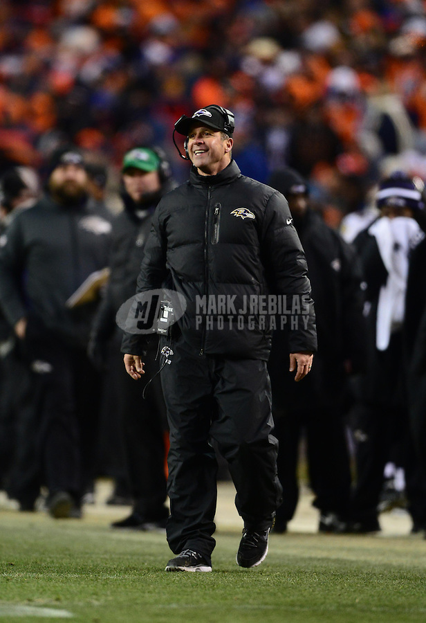 Jan 12, 2013; Denver, CO, USA; Baltimore Ravens head coach John Harbaugh against the Denver Broncos during the AFC divisional round playoff game at Sports Authority Field.  Mandatory Credit: Mark J. Rebilas-