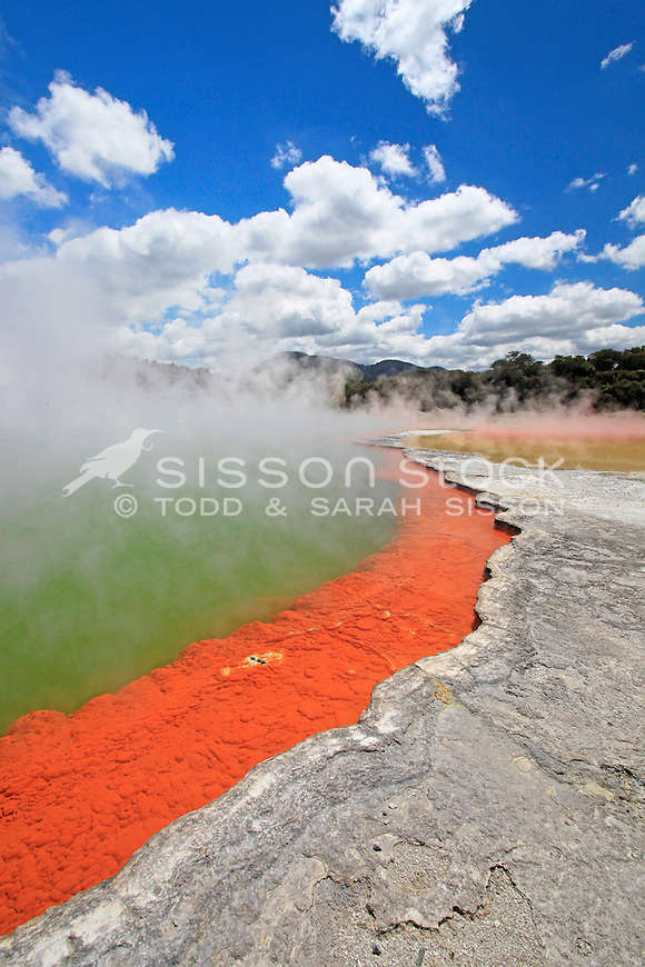The Champagne Pools at Wai O Tapu thermal region, Rotorua, geothermal scenic attraction, North Island New Zealand