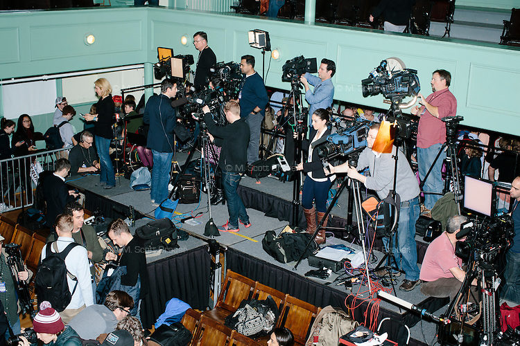 Members of the media pack up after real estate mogul and Republican presidential candidate Donald Trump spoke at a rally at Exeter Town Hall in Exeter, New Hampshire, on Thurs., Feb. 4, 2016.