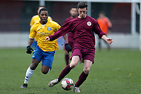 Taku Maghingaidze of Woodford Town and Jason Brown of Leyton Athletic during Leyton Athletic vs Woodford Town, Essex Senior League Football at Wadham Lodge Sports Ground on 1st December 2018