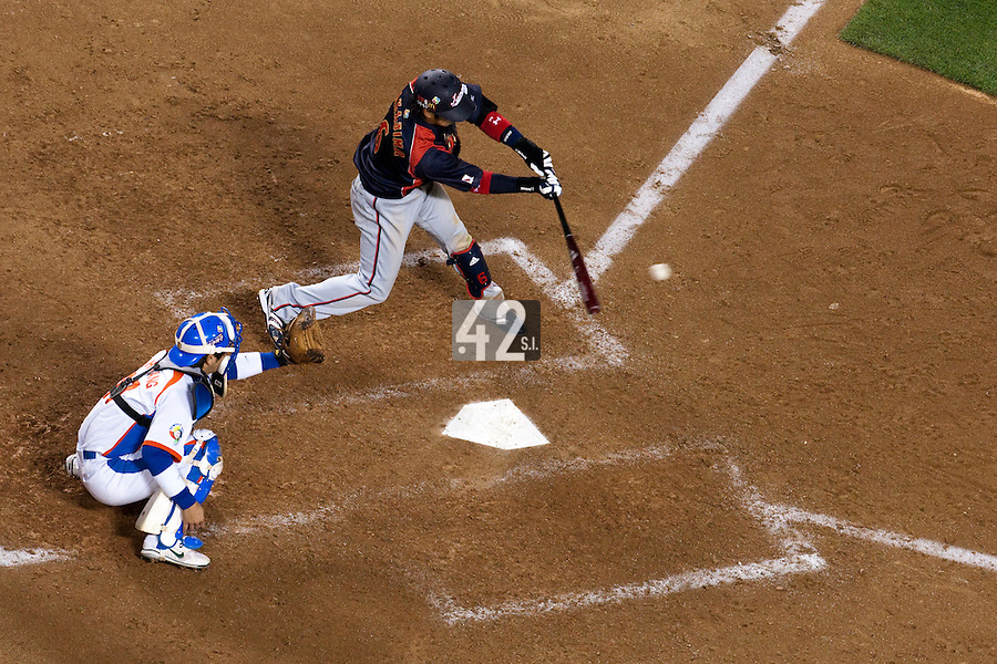 23 March 2009: #6 Hiroyuki Nakajima of Japan hits the ball during the 2009 World Baseball Classic final game at Dodger Stadium in Los Angeles, California, USA. Japan defeated Korea 5-3