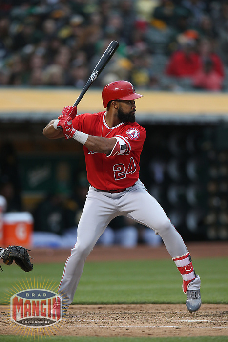 OAKLAND, CA - JUNE 15:  Chris Young #24 of the Los Angeles Angels of Anaheim bats against the Oakland Athletics during the game at the Oakland Coliseum on Friday, June 15, 2018 in Oakland, California. (Photo by Brad Mangin)