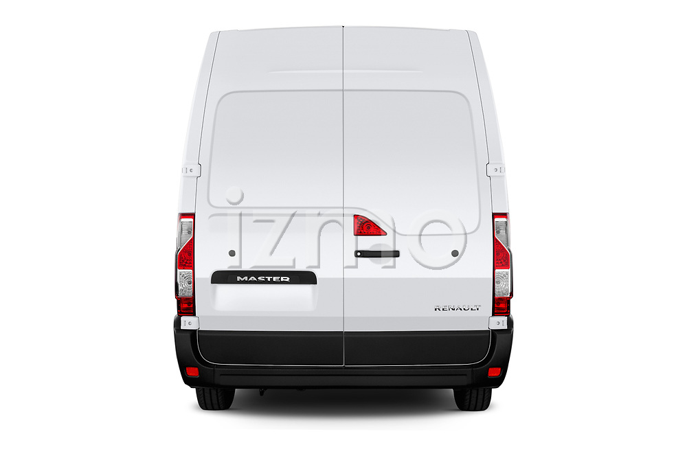 Straight rear view of a 2019 Renault Master-Z.E. Base 4 Door Cargo Van stock images