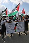 US members of Neturei Karta, a fringe ultra-Orthodox movement within the anti-Zionist bloc attend a protest near the Erez border crossing between the northern Gaza Strip and Israel, 31 December 2009. The protest, calling for an end to Israel's blockade on the Gaza Strip, was held simultaneously on both sides of the border. Photo by Ashraf Amra