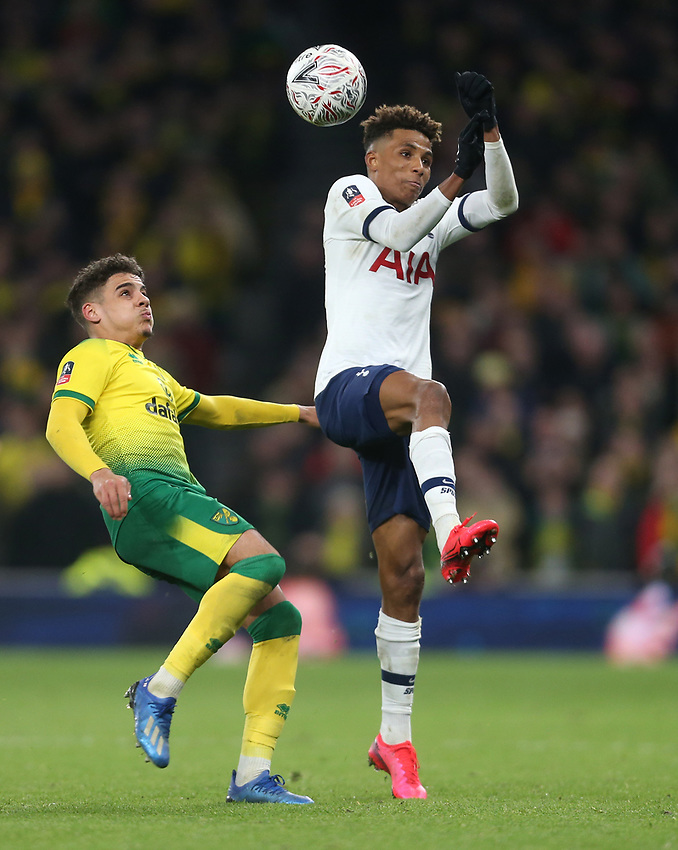 Tottenham Hotspur's Gedson Fernandes and Norwich City's Ben Godfrey<br /> <br /> Photographer Rob Newell/CameraSport<br /> <br /> The Emirates FA Cup Fifth Round - Tottenham Hotspur v Norwich City - Wednesday 4th March 2020 - Tottenham Hotspur Stadium - London<br />  <br /> World Copyright © 2020 CameraSport. All rights reserved. 43 Linden Ave. Countesthorpe. Leicester. England. LE8 5PG - Tel: +44 (0) 116 277 4147 - admin@camerasport.com - www.camerasport.com