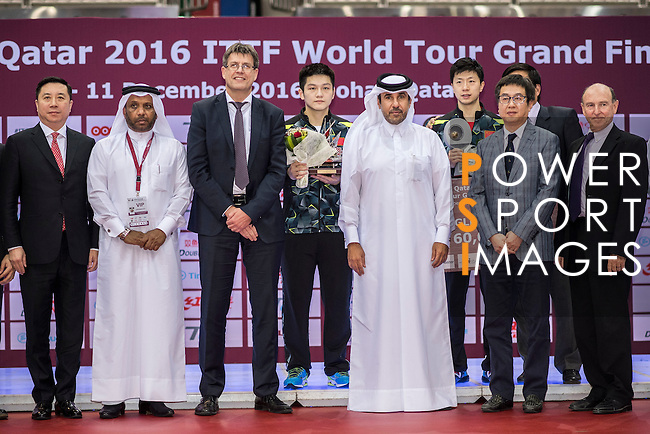 Long Ma and Fan Zhendong of China at the Men's Singles Final match during the Seamaster Qatar 2016 ITTF World Tour Grand Finals at the Ali Bin Hamad Al Attiya Arena on 11 December 2016, in Doha, Qatar. Photo by Victor Fraile / Power Sport Images