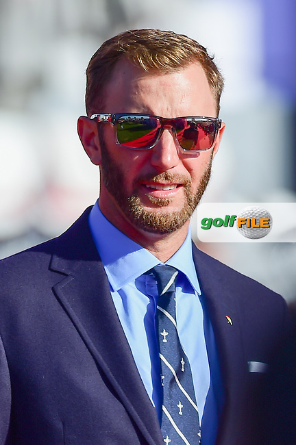 Dustin Johnson (USA) during the Opening Ceremony at the Ryder Cup, Hazeltine National Golf Club, Chaska, Minnesota, USA.  9/29/2016<br /> Picture: Golffile | Ken Murray<br /> <br /> <br /> All photo usage must carry mandatory copyright credit (&copy; Golffile | Ken Murray)