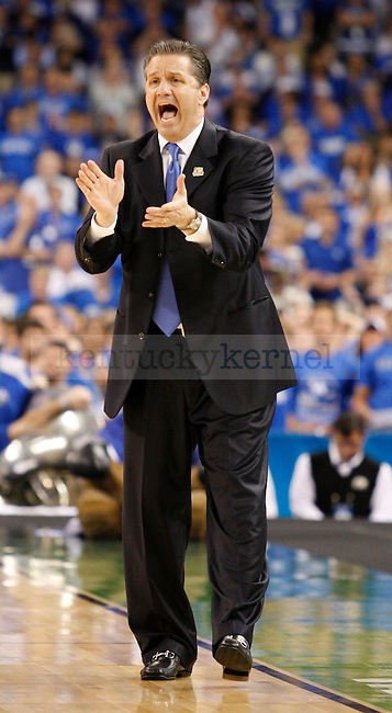 Head coach of the wildcats, John Calipari, in the first half of the championship game of the NCAA Tournament between the University of Kentucky and Kansas University, in the Superdome, on Monday, April 2, 2012 in New Orleans, La. Photo by Latara Appleby | Staff