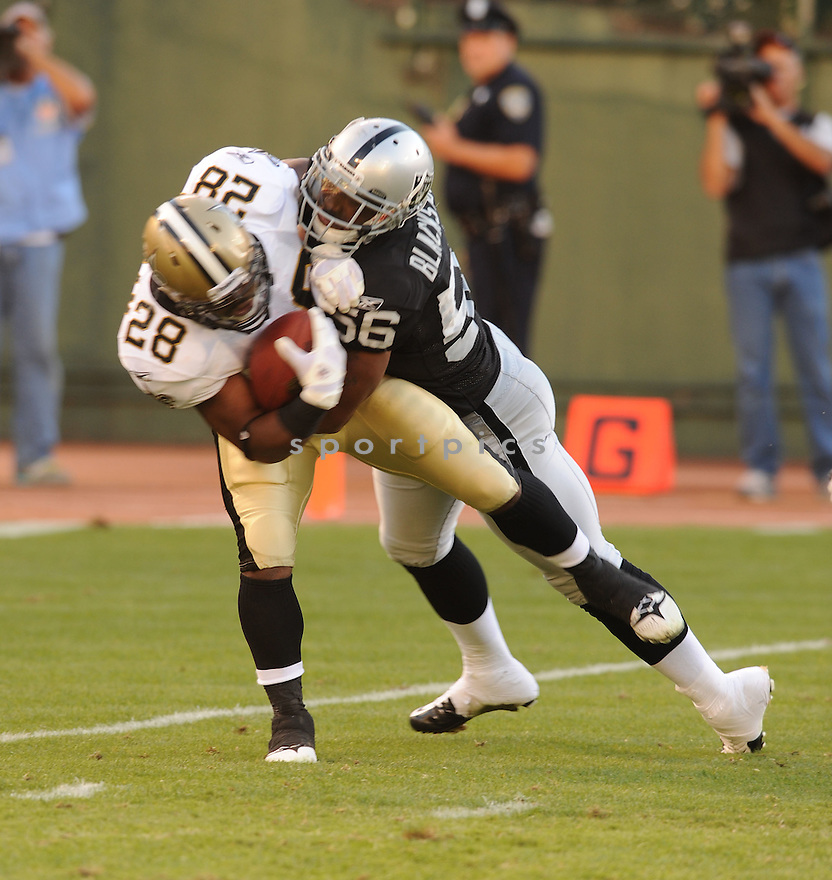 DARRYL BLACKSTOCK, of the Oakland Raiders, in action during the Raiders game against the New Orleans Saints on August 28, 2011 at O.co Coliseum in Oakland, CA. The Saints beat the Raiders 40-20.