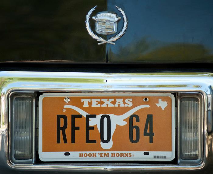 Detail of the license plate on Rey Feo LXIV Richard Ojeda's car seen during the Fiesta Charreada, Sunday, April 22, 2012, in San Antonio. (Darren Abate/pressphotointl.com)