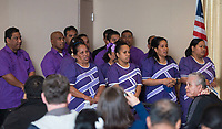 NWA Democrat-Gazette/BEN GOFF @NWABENGOFF<br /> A Marshallese adult choir sings Saturday, April 14, 2018, during a ceremony to launch a project to build a Marshallese KorKor, a type of outrigger canoe, at the Shiloh Museum of Ozark History in Springdale. Over the coming weeks master builder Liton Beasa, born and raised on Namdrik Atoll in the Marshall Islands and living in Springdale since 2013, and his family will build a roughly 20 foot long KorKor at the museum with opportunities for school groups and the public to observe. On the Marshall Islands canoes are built from breadfruit trees, but this canoe will be built from a locally-sourced sycamore tree. The builders plan to feature the finished canoe during Jemenei Day (Marshallese constitution day) celebrations in Springdale between May 25-28. The project is supported by the Arkansas Coalition of Marshallese of Springdale and the Shiloh Museum of Ozark History, with grants from the Arkansas Humanities Council and the National Endowment for the Humanities.