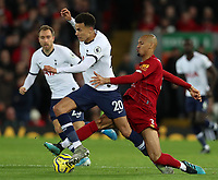 27th October 2019; Anfield, Liverpool, Merseyside, England; English Premier League Football, Liverpool versus Tottenham Hotspur; Fabinho of Liverpool tackles Dele Alli of Tottenham Hotspur - Strictly Editorial Use Only. No use with unauthorized audio, video, data, fixture lists, club/league logos or 'live' services. Online in-match use limited to 120 images, no video emulation. No use in betting, games or single club/league/player publications