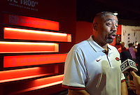 NWA Democrat-Gazette/BEN GOFF • @NWABENGOFF<br /> Vernon Hargreaves, linebackers coach, speaks to the media on Sunday Aug. 9, 2015 during Arkansas football media day at the Fred W. Smith Football Center in Fayetteville.