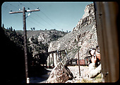 D&amp;RGW #361 C-21 with excursion train at Bridge 316 in Black Canyon<br /> D&amp;RGW  Black Canyon, CO  Taken by Maxwell, John W.