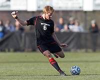 Northeastern University defender Jonathan Eckford (6) passes the ball. .NCAA Tournament. University of Connecticut (white) defeated Northeastern University (black), 1-0, at Morrone Stadium at University of Connecticut on November 18, 2012.