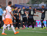 MEDELLIN -COLOMBIA-26-04-2014: Elkin Calle jugador del Atletico Nacional celebra su gol  contra el  Envigado F.C.  durante partido de los cuartos de final  de la Liga Postobon I 2014, jugado en el estadio Polideportivo Sur  de Medellin. /  Elkin Calle  of Atletico Nacional  celebrates his goal against of Envigado F.C.  match of the quarter-finals of the League I Postobon 2014, played at the Polideportivo Sur of Medellin.. Photo: VizzorImage  / Luis Rios  / Str.