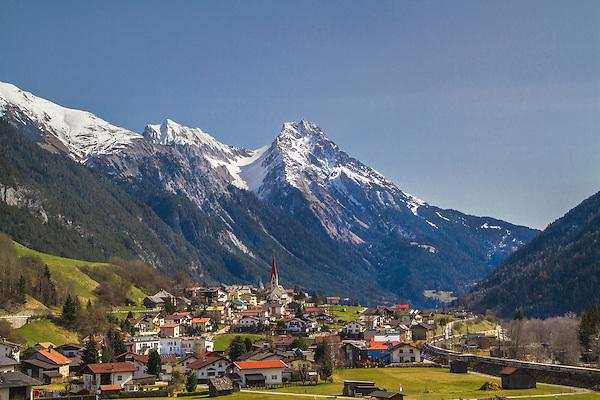 Town of Pettneu am Arlberg, east of St Anton, Austria.