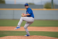 Chicago Cubs relief pitcher Corey Black (40) prepares to deliver a pitch to the plate during a Minor League Spring Training game against the Oakland Athletics at Sloan Park on March 13, 2018 in Mesa, Arizona. (Zachary Lucy/Four Seam Images)