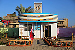 A Picture shows a wooden a wooden sculpture of Cairo's landmark Radio and Television building at a technical site in the southern Gaza Strip town of Rafah, near the border with Egypt, on June 1, 2017. Young artists Palestinian artists Nidal Al-Jarami and Wissam Makkawi recreated Egypt's landmark sites with mural paintings and sculptures, including the Pyramids of Giza and a remake of an Umm Kulthum Cafe, named after the late Egyptian diva who died in 1975. Photo by Mohammed Dahman