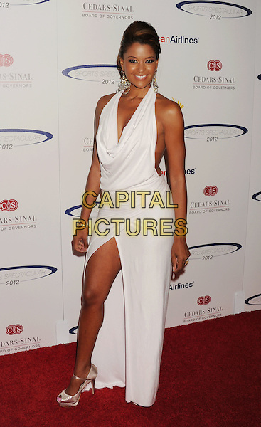 Claudia Jordan.The 27th Anniversary of Sports Spectacular at the Hyatt Regency Century Plaza in Century City, California, USA..May 20th, 2012.full length white halterneck dress slit split .CAP/ROT/TM.©Tony Michaels/Roth Stock/Capital Pictures