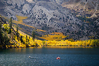 Fishermen on Convict lake basking in its full Autumn glory