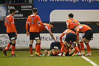 Cameron McGeehan of Luton Town celebrates after he scores his team's second goal of the game to make the score 2-1 during the Sky Bet League 2 match between Luton Town and Barnet at Kenilworth Road, Luton, England on 31 December 2016. Photo by David Horn.