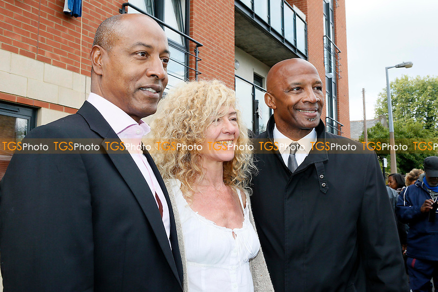 Brandan Batson,Wife Nicky Brown &amp; Cyrille Regis at the Plaque unveiling of Laurie Cunningham<br />  Leyton Orient Vs MK Dons - SkyBet League One Football at the Matchroom Stadium,Brisbane Road,Leyton,London - 12/10/13 - MANDATORY CREDIT : Simon O'Connor/TGS Photo - Self Billing applies where appropiate - 01376 553468 - contact@tgsphoto.co.uk - NO UNPAID USE