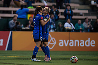 Seattle, WA - Wednesday, June 28, 2017: Jess Fishlock and Kiersten Dallstream during a regular season National Women's Soccer League (NWSL) match between the Seattle Reign FC and the Chicago Red Stars at Memorial Stadium.