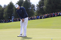 Matthew Fitzpatrick (ENG) putts on the 18th green during Sunday's Final Round of the 2017 Omega European Masters held at Golf Club Crans-Sur-Sierre, Crans Montana, Switzerland. 10th September 2017.<br /> Picture: Eoin Clarke | Golffile<br /> <br /> <br /> All photos usage must carry mandatory copyright credit (&copy; Golffile | Eoin Clarke)