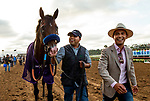 AUG 17: Higher Power with his groom and assistant trainer Juan Leyva after winning the Pacific Classic at The Del Mar Thoroughbred Club in Del Mar, California on August 17, 2019. Evers/Eclipse Sportswire/CSM