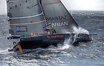The Open 60 Safran in preparation for the Transat Jacques Vabre 2011, skipper Marc Guillemot co/skipper Yann Eliés, Brittany, France.