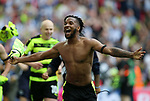 Huddersfield's Kasey Palmer celebrates promotion during the Championship Play-Off Final match at Wembley Stadium, London. Picture date: May 29th, 2017. Pic credit should read: David Klein/Sportimage