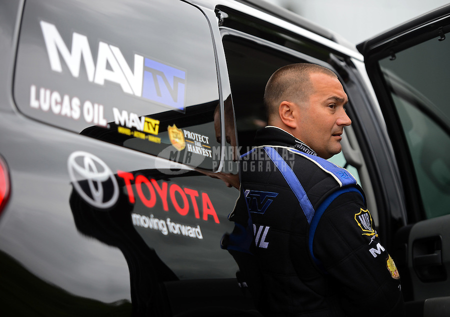Jun. 1, 2012; Englishtown, NJ, USA: NHRA top fuel dragster driver Brandon Bernstein during qualifying for the Supernationals at Raceway Park. Mandatory Credit: Mark J. Rebilas-