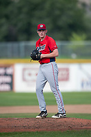 Orem Owlz starting pitcher John Swanda (5) gets ready to deliver a pitch during a Pioneer League game against the Missoula Osprey at Ogren Park Allegiance Field on August 19, 2018 in Missoula, Montana. The Missoula Osprey defeated the Orem Owlz by a score of 8-0. (Zachary Lucy/Four Seam Images)