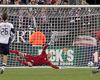 New England Revolution goalkeeper Matt Reis (1) unable to prevent a goal. In a Major League Soccer (MLS) match, the New England Revolution tied the Portland Timbers, 1-1, at Gillette Stadium on April 2, 2011.